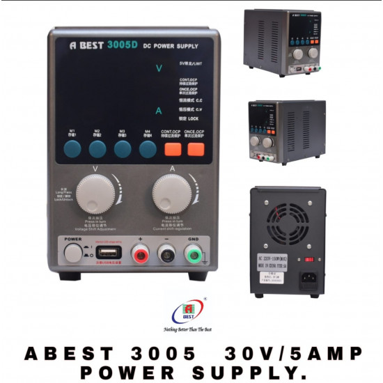 ABEST 3005D ADJUSTABLE DIGITAL DC POWER SUPPLY WITH SHORT KILLER WITH MEMORY OPTION ( 30V~5A )