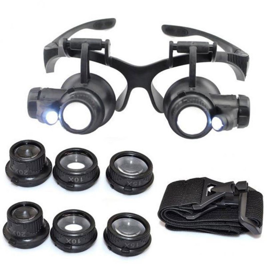 LENS MAGNIFICATION 10X 15X 20X 25X GLASSES TYPE WATCH REPAIR MAGNIFIER WITH LED LIGHT