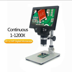 LCD DIGITAL MICROSCOPE,7 INCH 1X-1200X MAGNIFICATION ZOOM HD 1080P 12 MEGAPIXELS COMPOUND 3000 MAH BATTERY