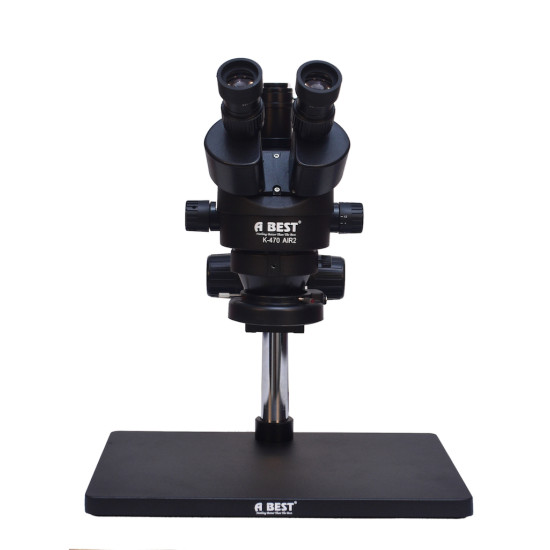 ABEST K-470 AIR 2 WITH BIG STAND 7X-45X TRINOCULAR STEREO MICROSCOPE WITH CAMERA OPTION WITH LED ADJUSTABLE LIGHT - BLACK COLOUR