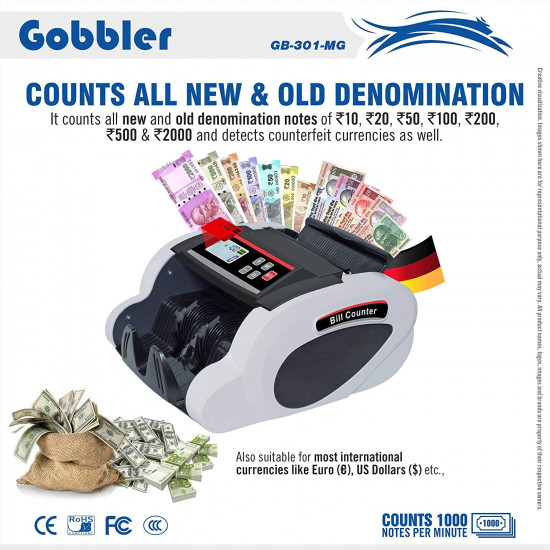 GOBBLER PX-301 NOTE COUNTING MACHINE WITH FAKE DETECTION | COUNTS ALL NEW & OLDS NOTES