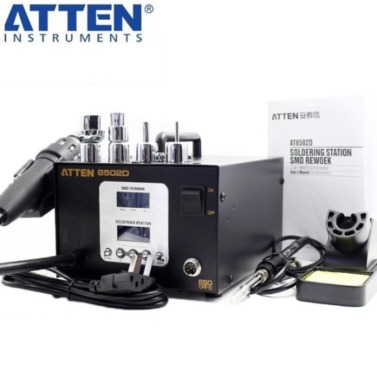 ATTEN AT8502D 2 IN 1 REWORK STATION SMD LEAD FREE HOT AIR REWORK STATION & SOLDERING STATION